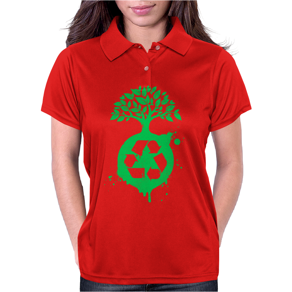 Green Recycle Womens Polo