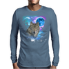 Grey Wolf MidNight Forest Mens Long Sleeve T-Shirt