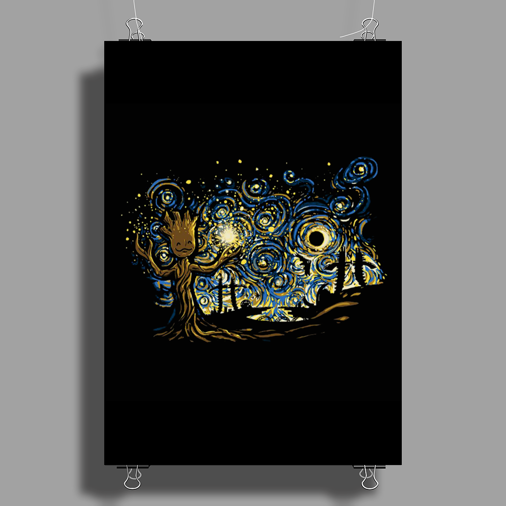 groot Starry night abstrac Poster Print (Portrait)