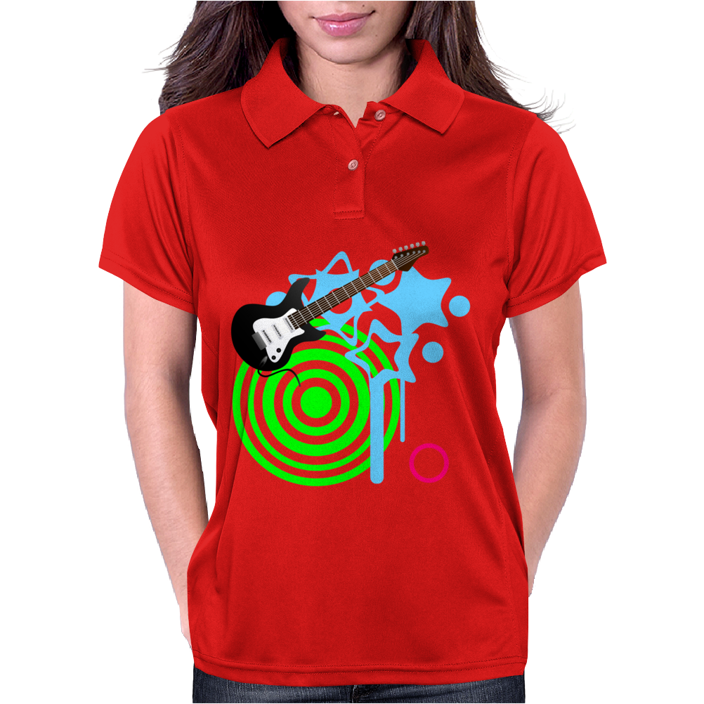 Guitar Retro Music Womens Polo