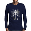 Guitar Skeleton Microphone Rock Music Lovers Mens Long Sleeve T-Shirt