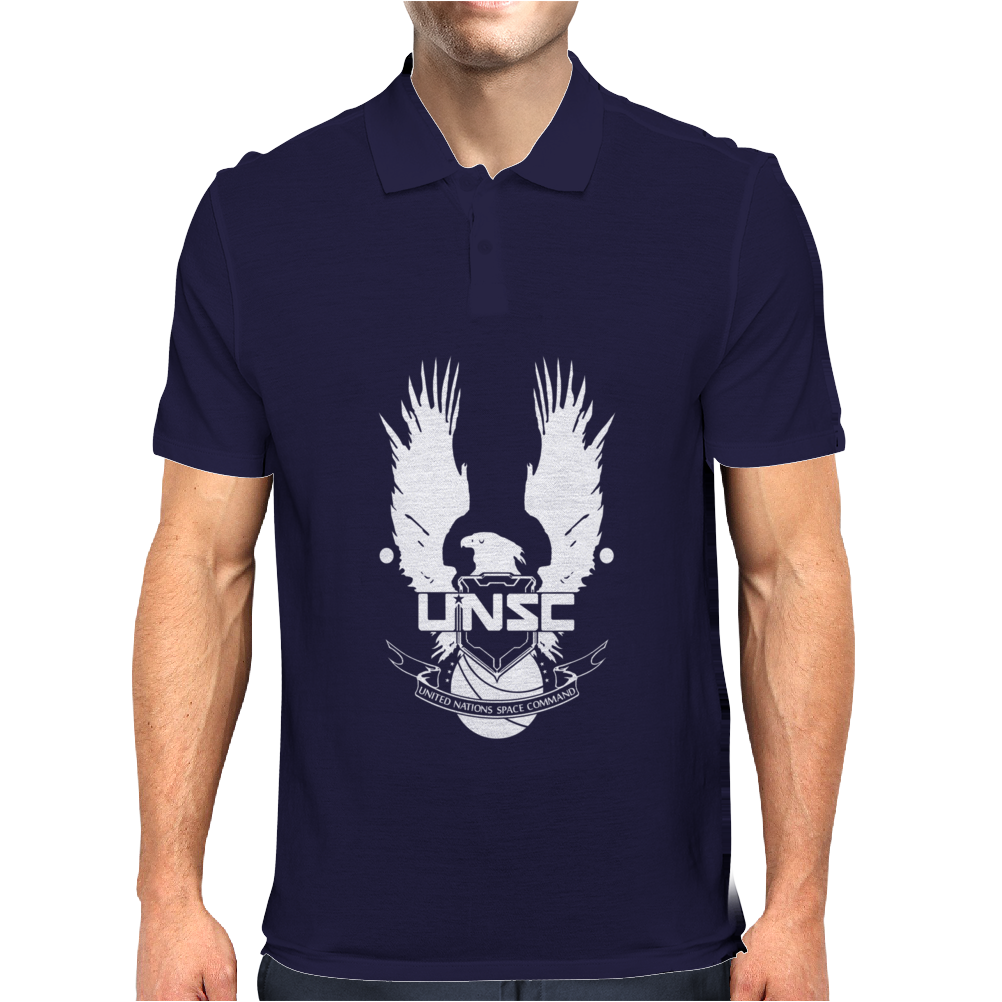 Halo Unsc United Nations Space Command Gamer Mens Polo
