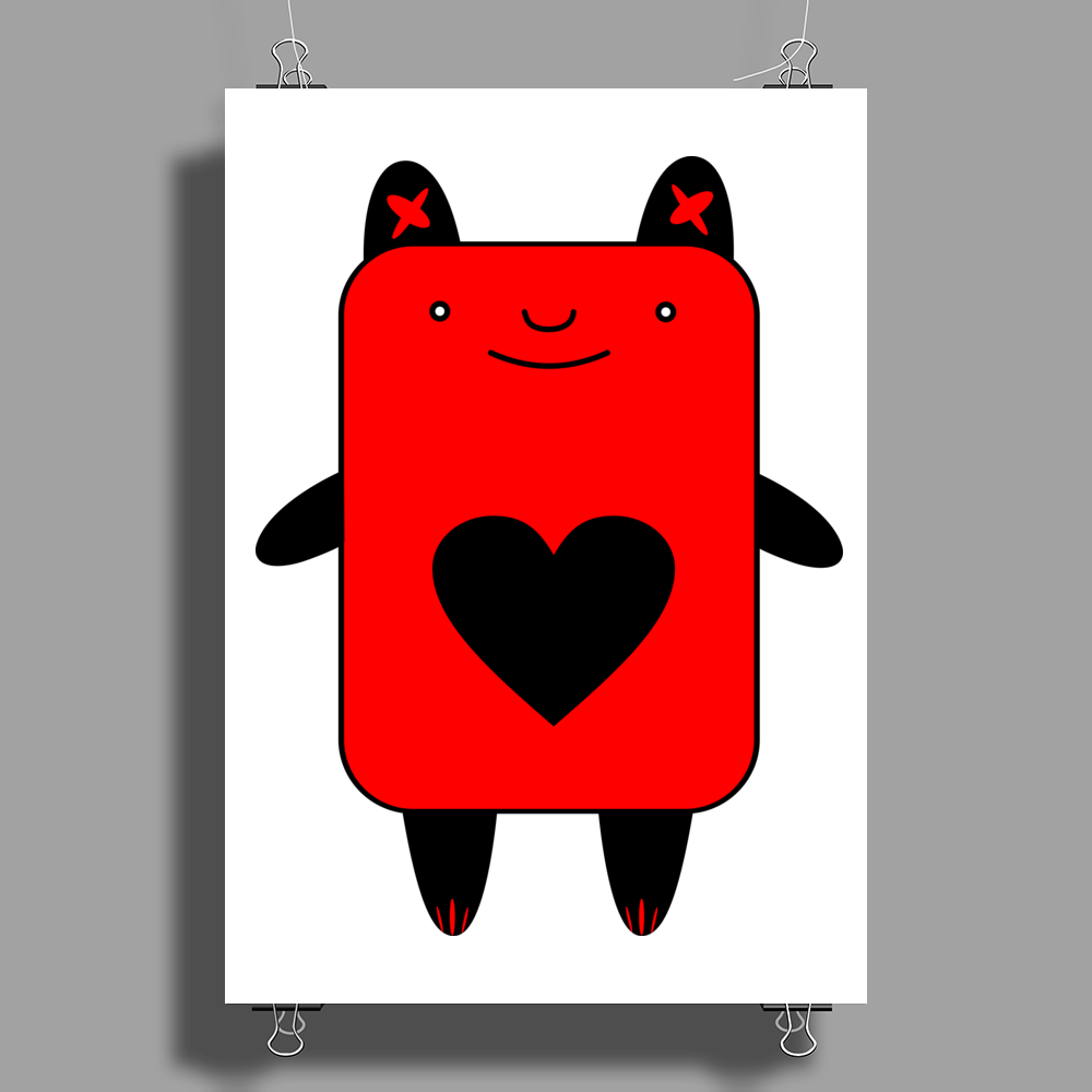 Happy Red Devil Poster Print (Portrait)