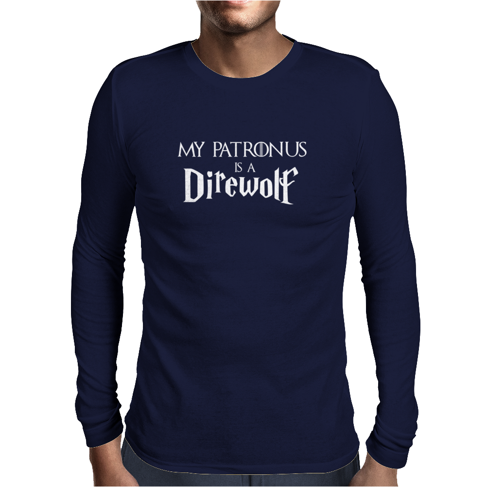 Harry Potter Game of thrones Patronus Direwolf Mens Long Sleeve T-Shirt