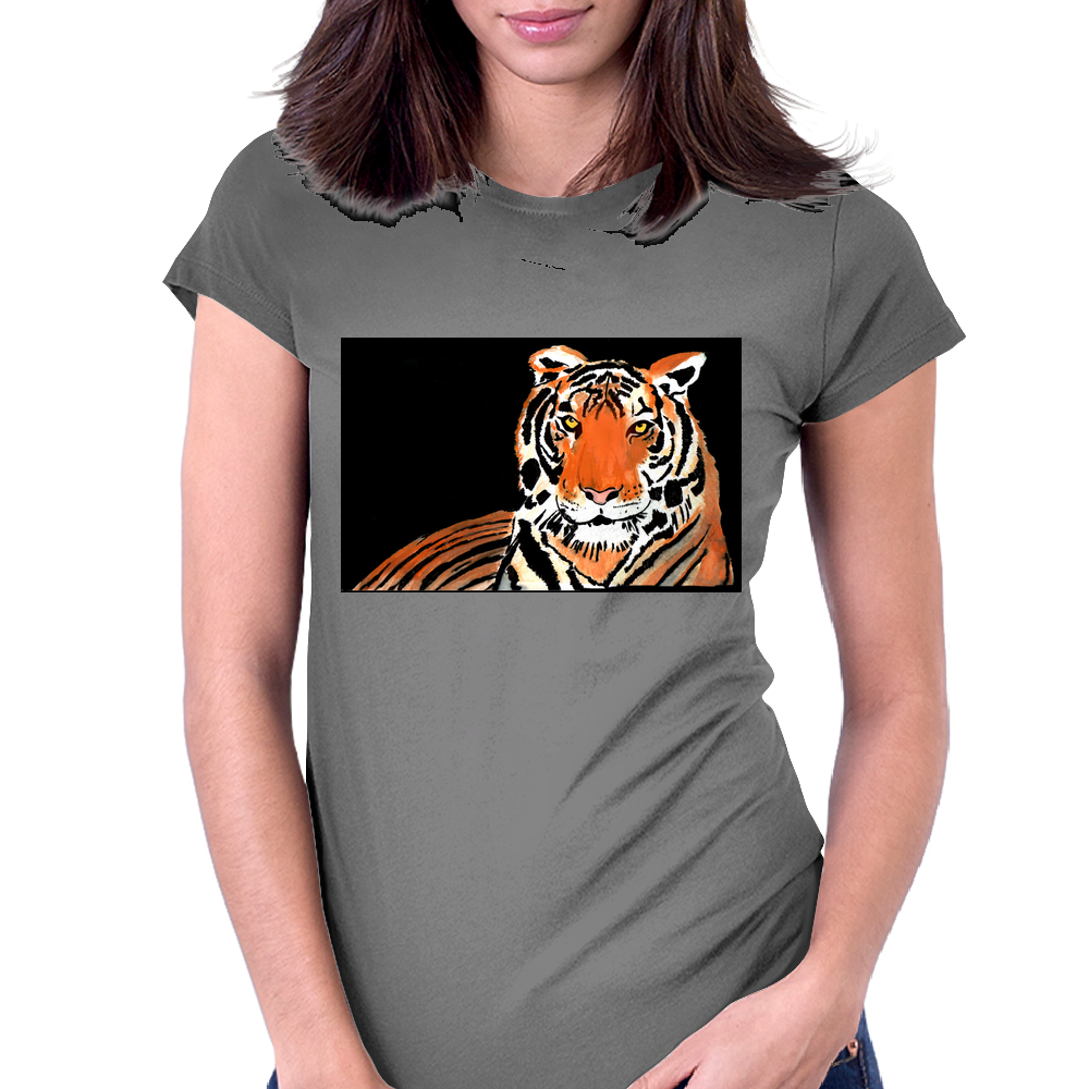 He Roars -  Tiger Watercolor Print Womens Fitted T-Shirt