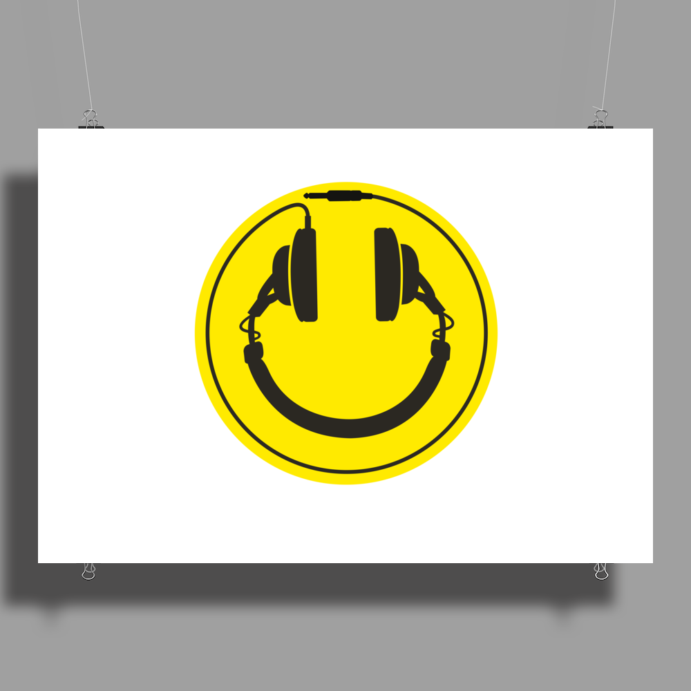 Headphones smiley wire plug Poster Print (Landscape)