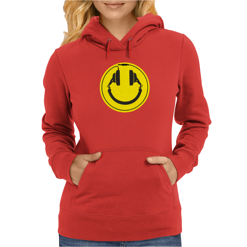 Headphones smiley wire plug Womens Hoodie
