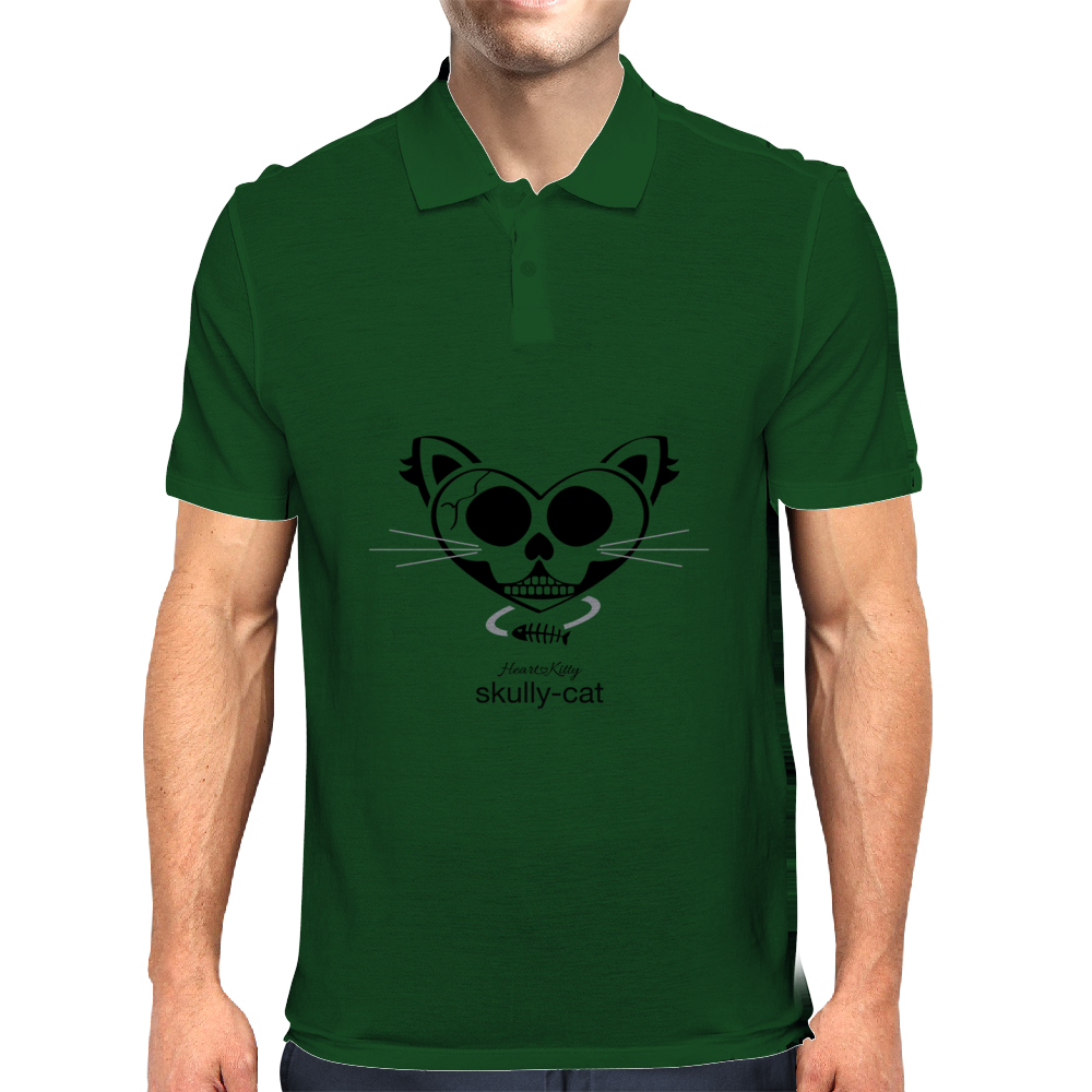HeartKitty Skully-Cat Mens Polo