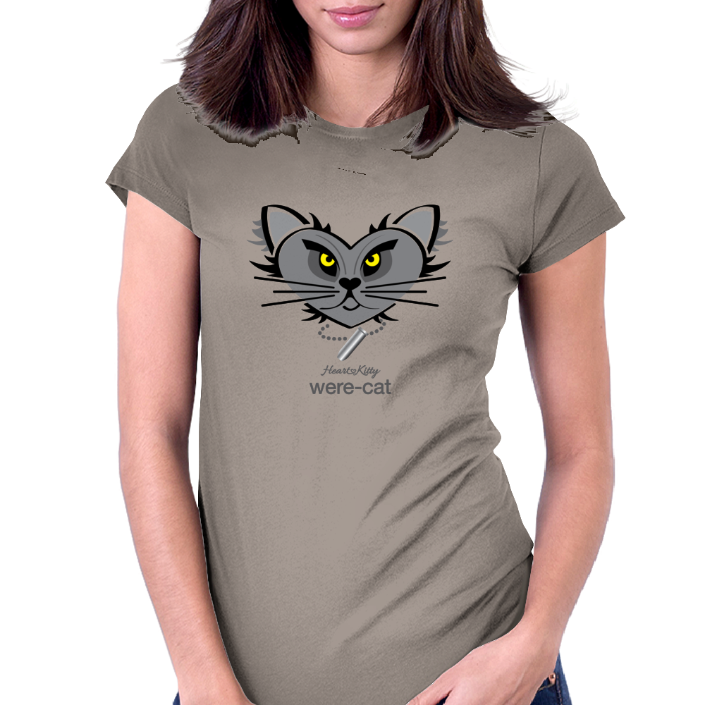 HeartKitty Were-Cat Womens Fitted T-Shirt
