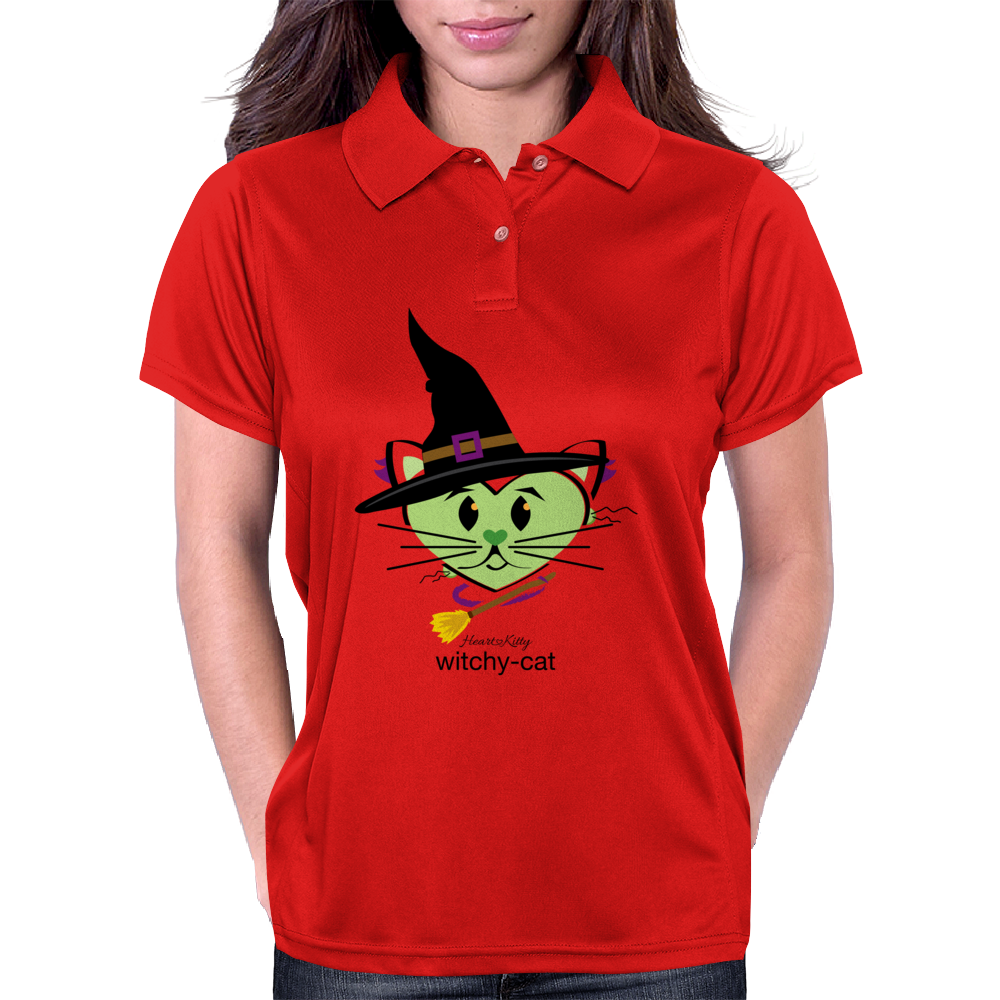 HeartKitty Witchy-Cat Womens Polo