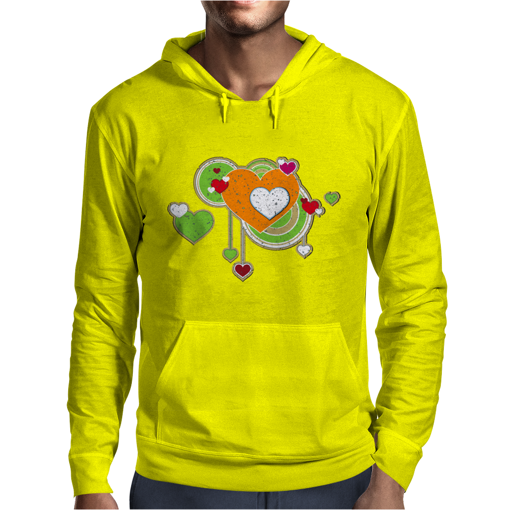 hearts love grunge style green orange Mens Hoodie
