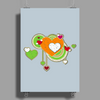 hearts love grunge style green orange Poster Print (Portrait)