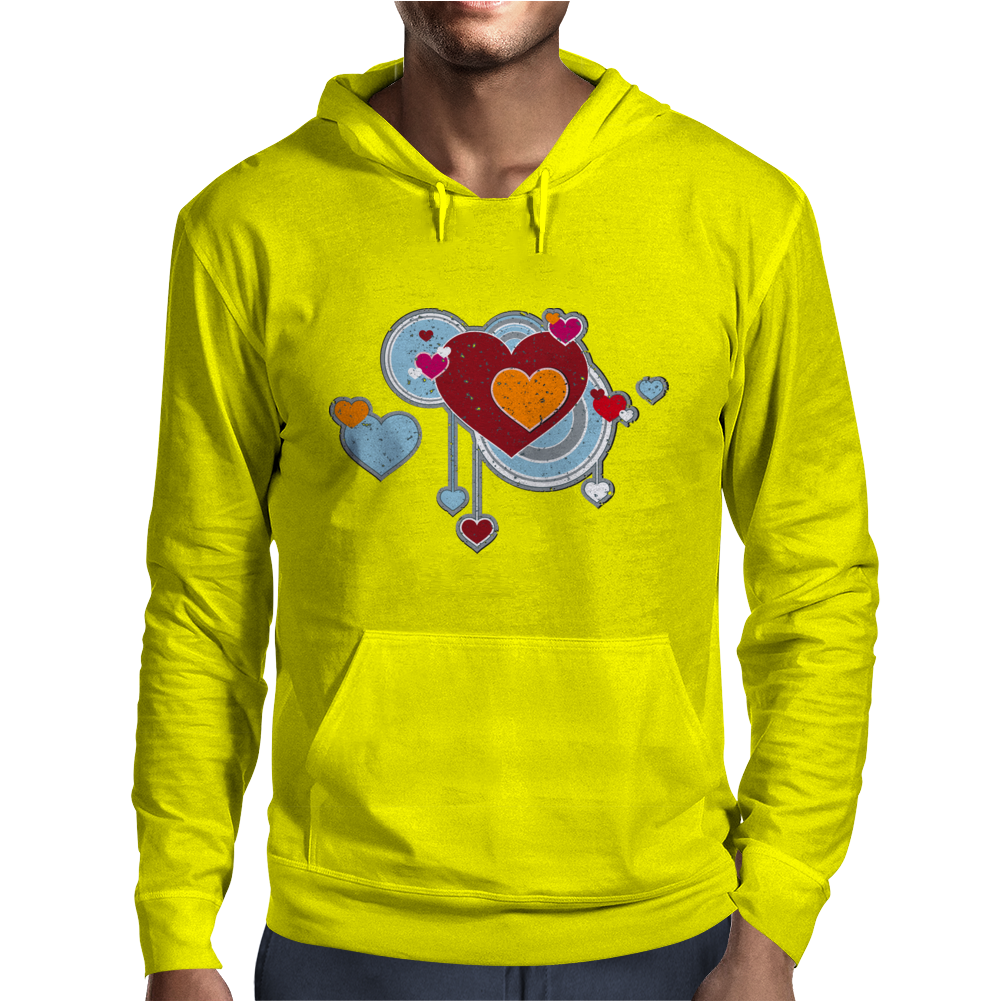 hearts love grunge style light blue red Mens Hoodie