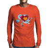 hearts love grunge style light blue red Mens Long Sleeve T-Shirt