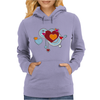 hearts love grunge style light blue red Womens Hoodie