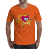 hearts love grunge style orange pink Mens T-Shirt