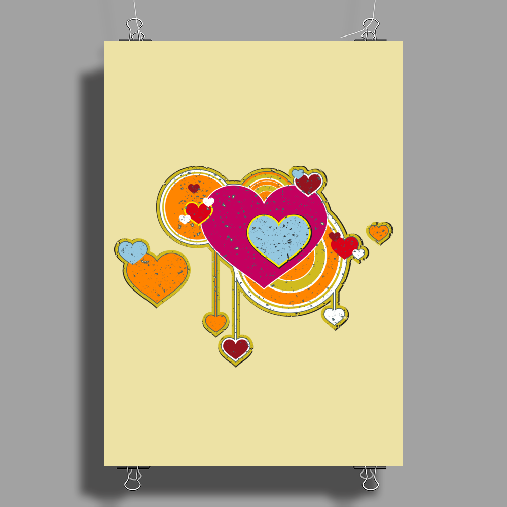 hearts love grunge style orange pink Poster Print (Portrait)