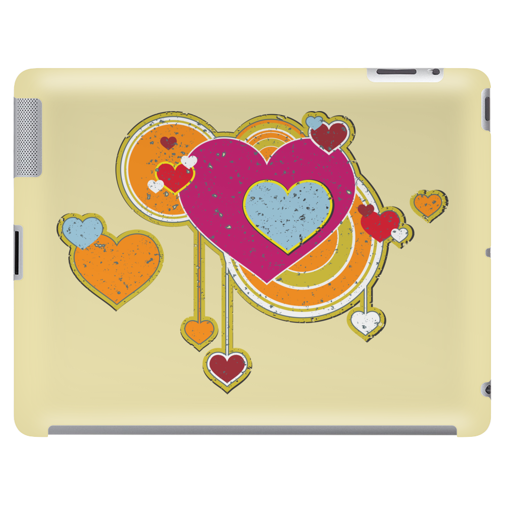 hearts love grunge style orange pink Tablet