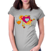hearts love grunge style orange pink Womens Fitted T-Shirt