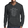 Hello 7 Languages Hola Bonjour Ni Hao Chinese French Italian Mens Hoodie
