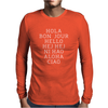 Hello 7 Languages Hola Bonjour Ni Hao Chinese French Italian Mens Long Sleeve T-Shirt