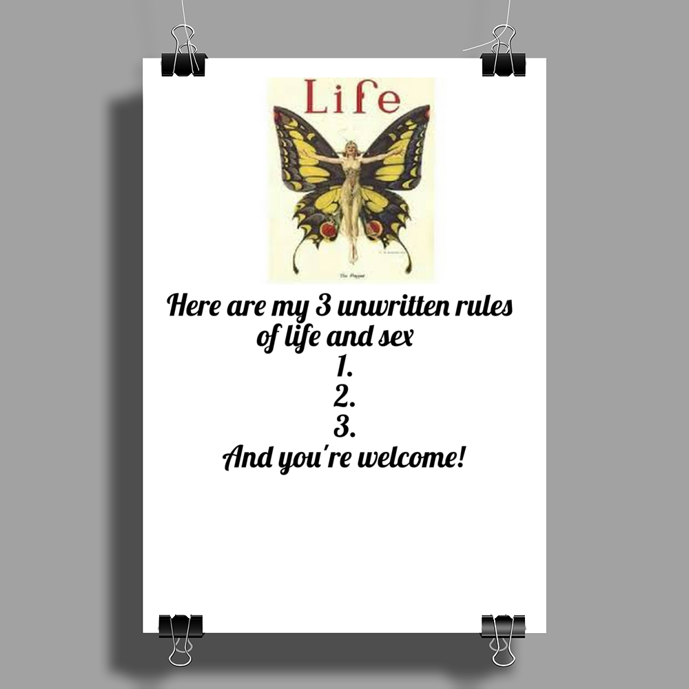 Here are my # Unwritten Rules 1.2,3, And you're welcome Poster Print (Portrait)