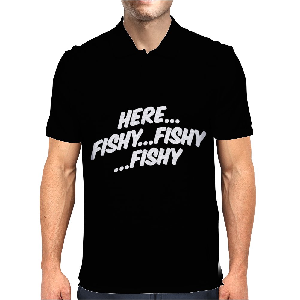 Here Fishy Fishy Fishy Mens Polo