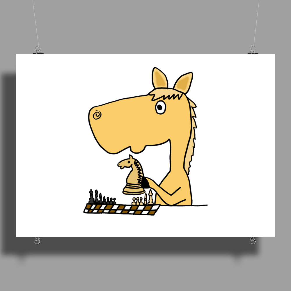 Hilarious Horse Playing Chess Poster Print (Landscape)