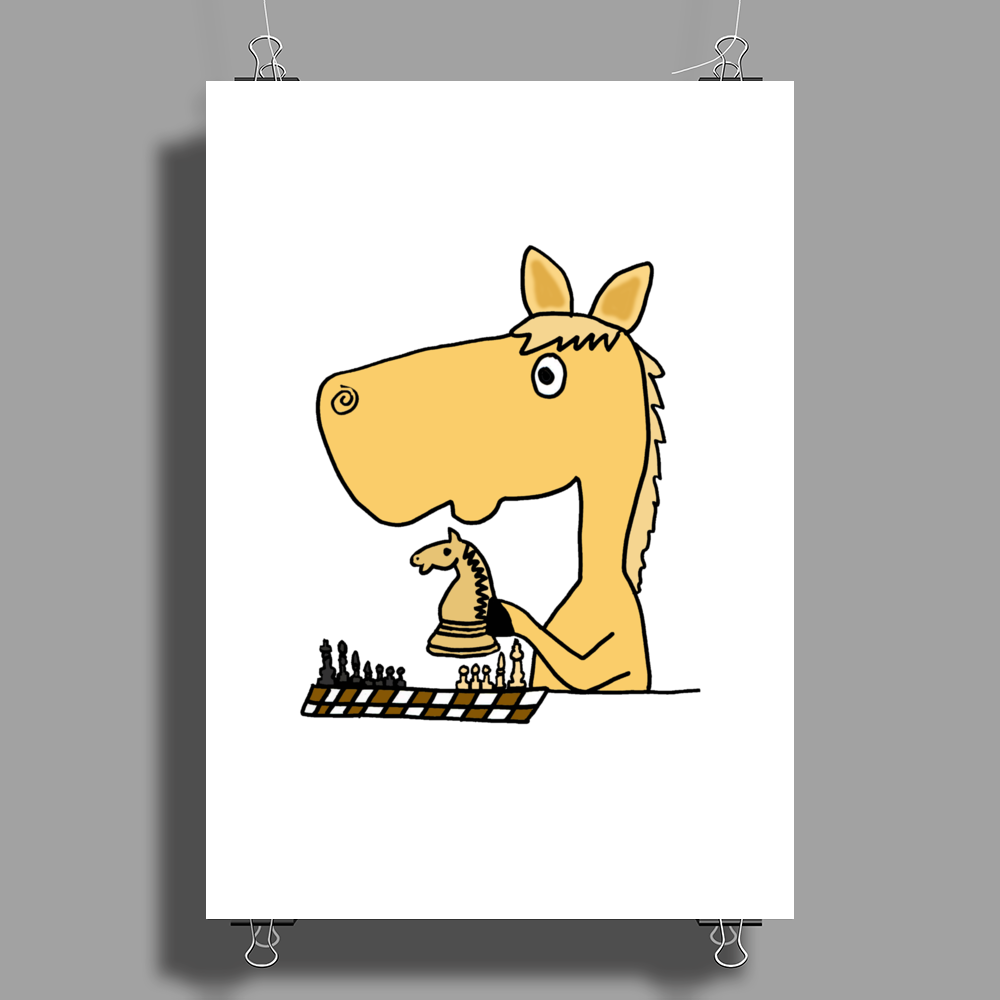 Hilarious Horse Playing Chess Poster Print (Portrait)