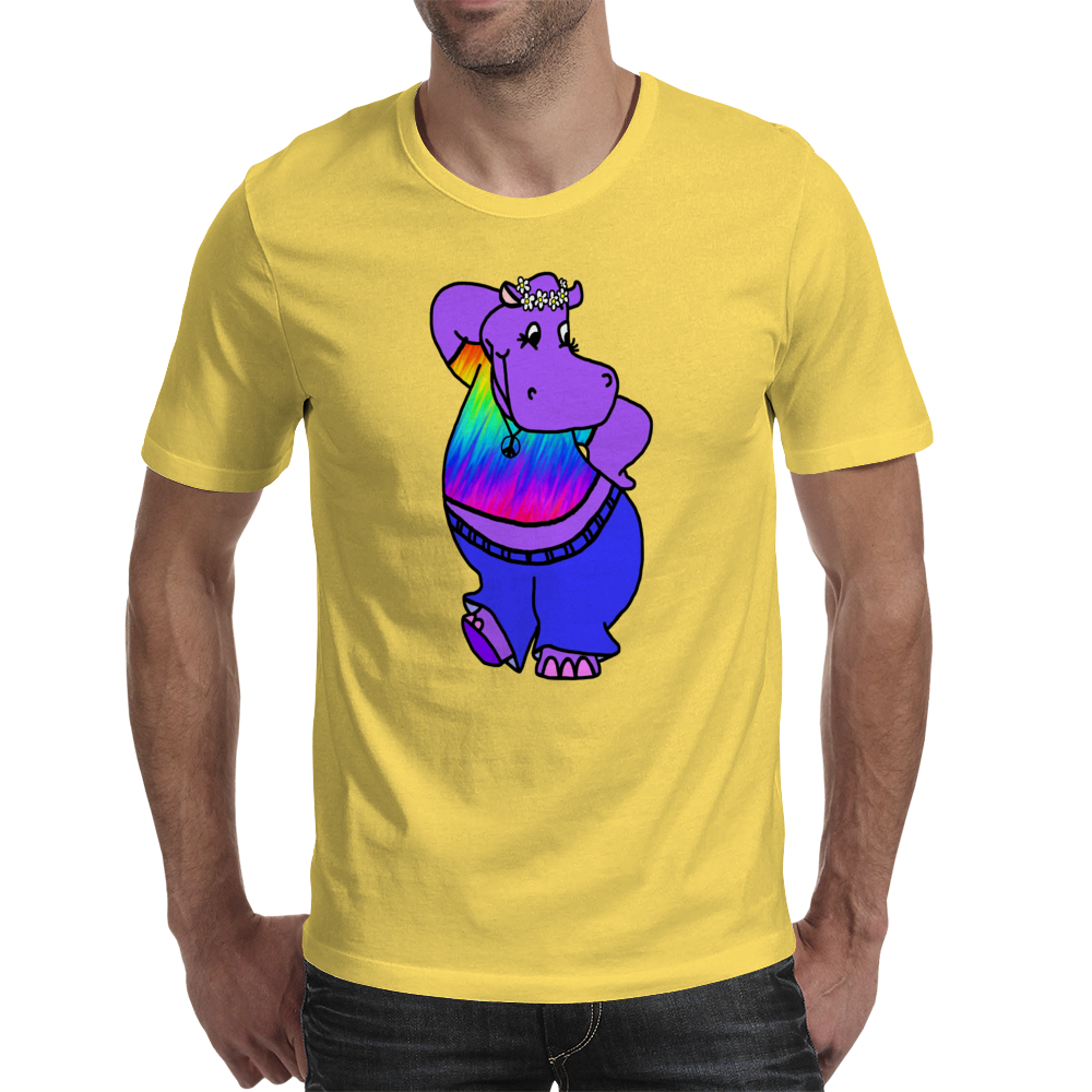 Hippie Hippo Mens T-Shirt
