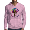 Hippie Peace Tree in Psychedelic Circle Mens Hoodie