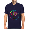 Hippie Peace Tree in Psychedelic Circle Mens Polo