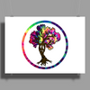 Hippie Peace Tree in Psychedelic Circle Poster Print (Landscape)