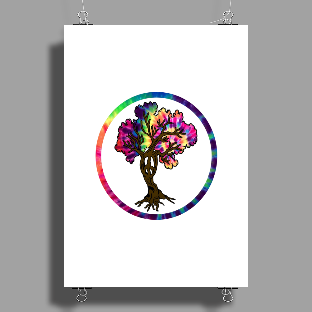 Hippie Peace Tree in Psychedelic Circle Poster Print (Portrait)