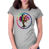 Hippie Peace Tree in Psychedelic Circle Womens Fitted T-Shirt