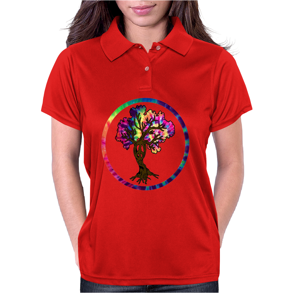 Hippie Peace Tree in Psychedelic Circle Womens Polo