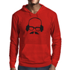 Hipster Glasses Mustache Headphones Negative Space Face Mens Hoodie