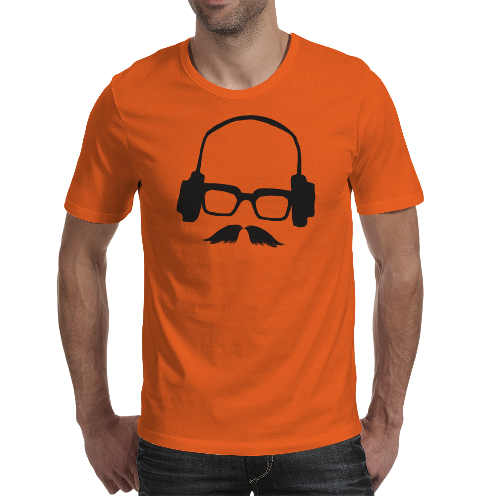 Hipster Glasses Mustache Headphones Negative Space Face Mens T-Shirt