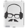 Hipster Glasses Mustache Headphones Negative Space Face Tablet (vertical)