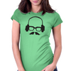 Hipster Glasses Mustache Headphones Negative Space Face Womens Fitted T-Shirt
