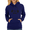 Hipster Glasses Mustache Headphones Negative Space Face Womens Hoodie