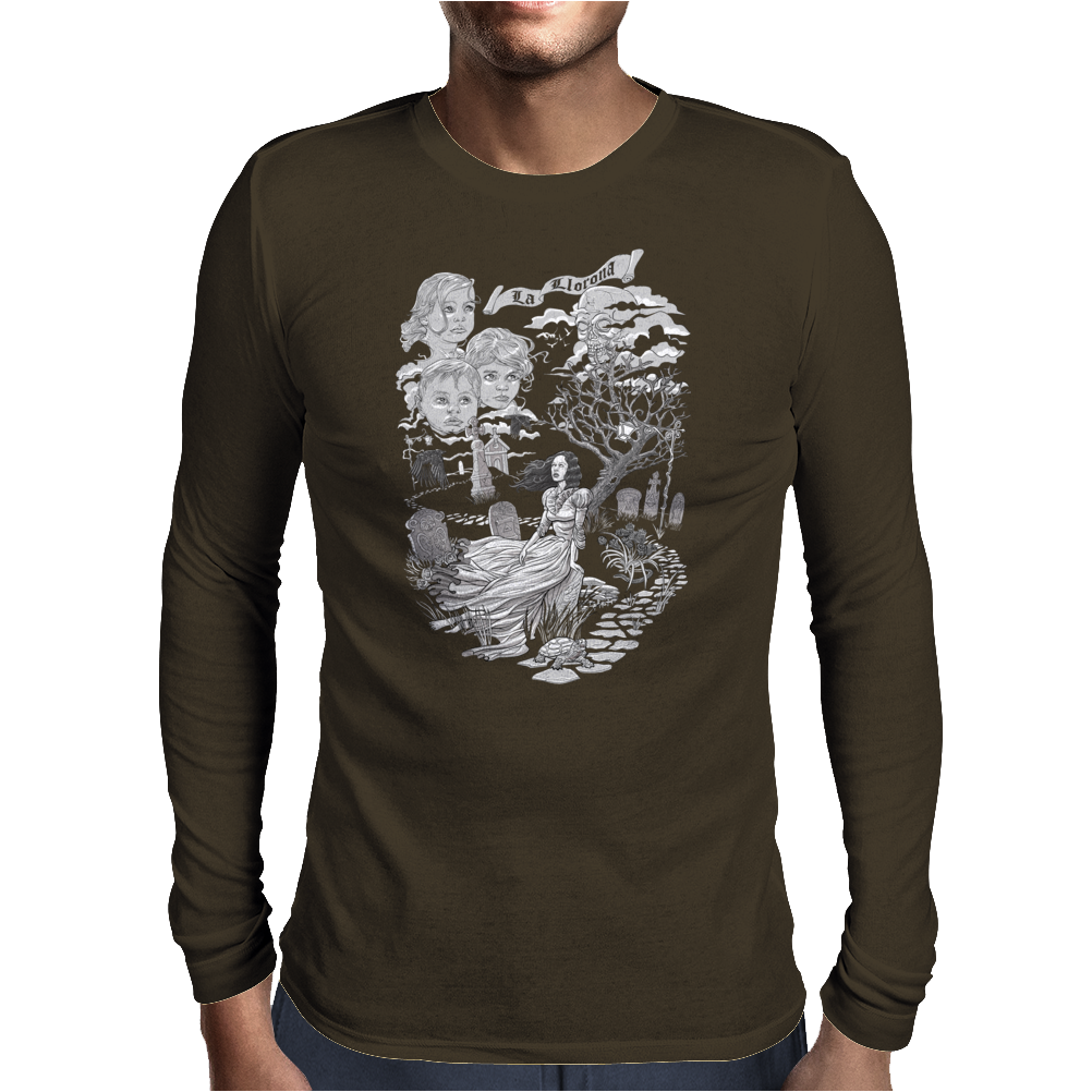 Hispanic Legend La Llorona (black and white) Mens Long Sleeve T-Shirt
