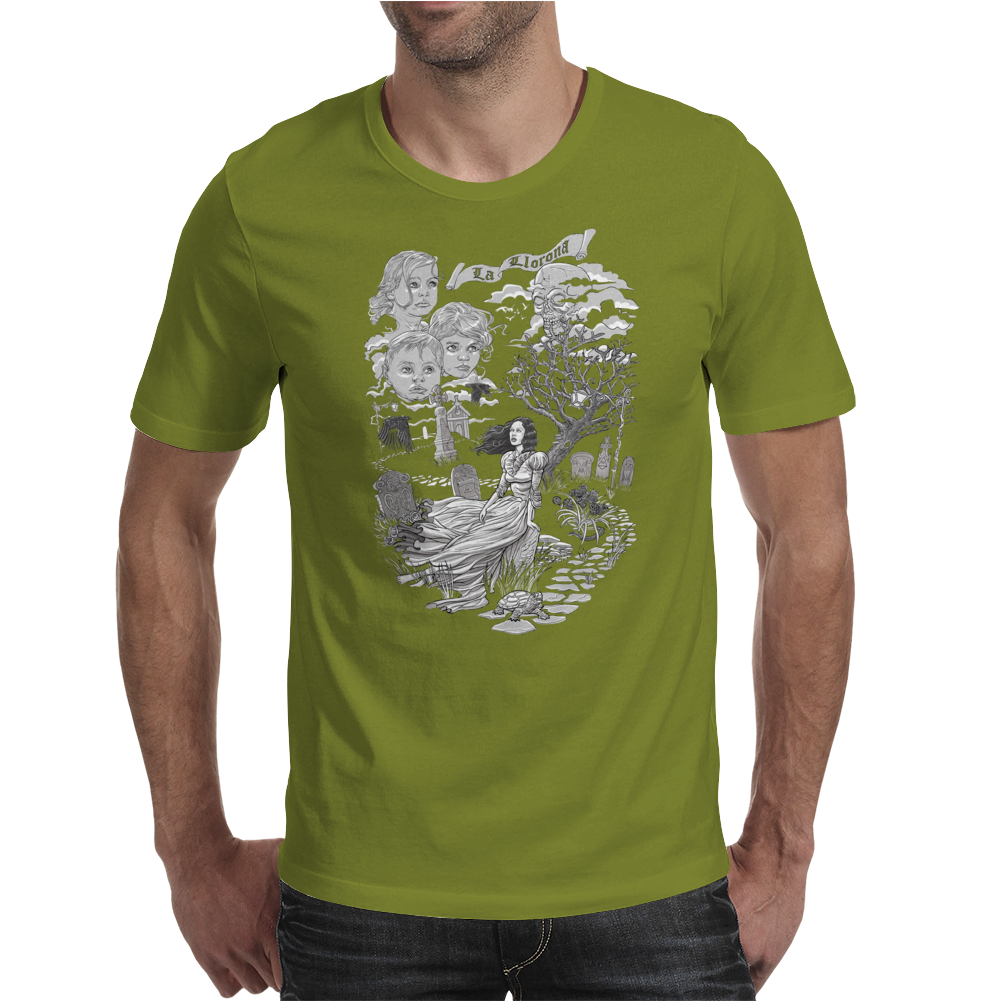Hispanic Legend La Llorona (black and white) Mens T-Shirt