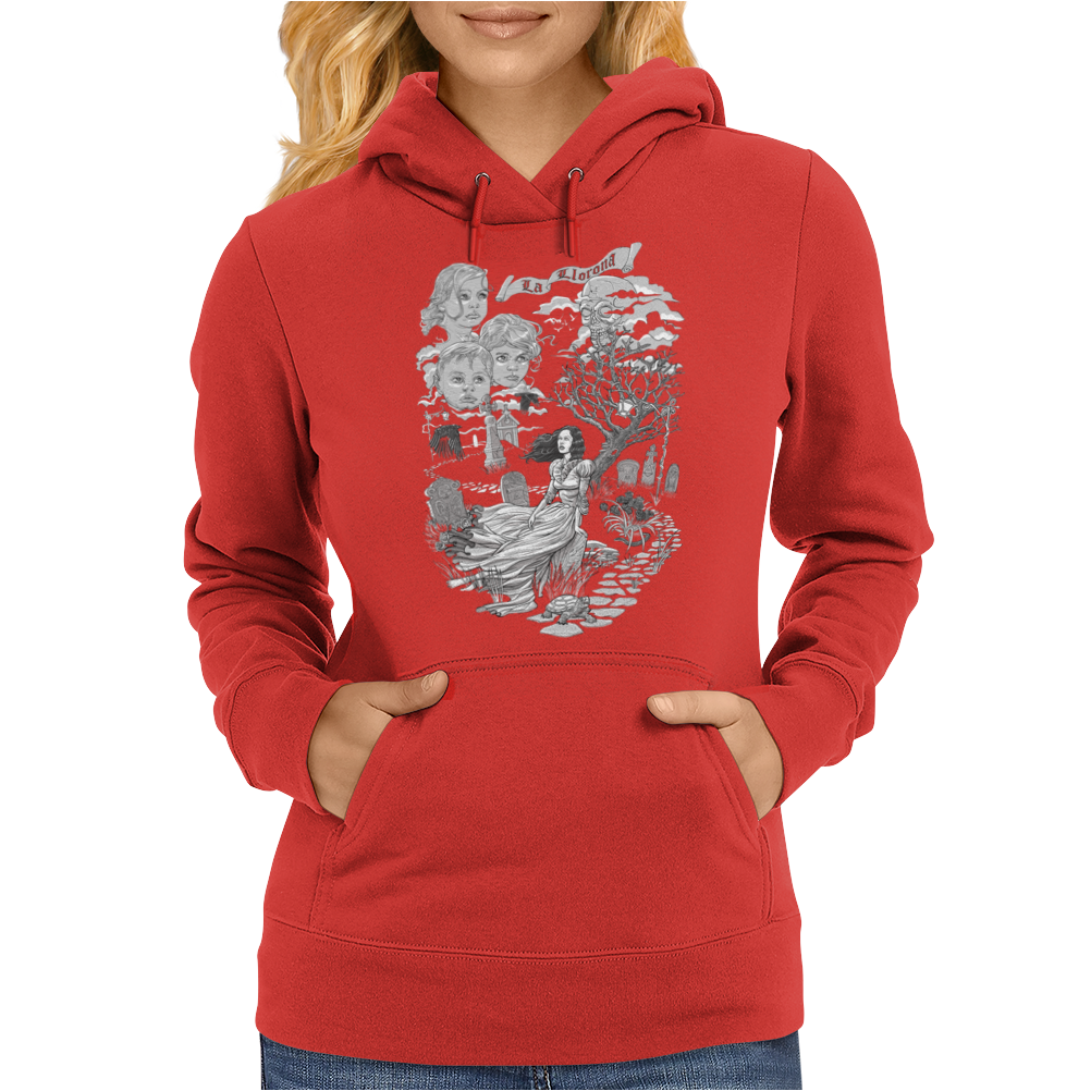 Hispanic Legend La Llorona (black and white) Womens Hoodie