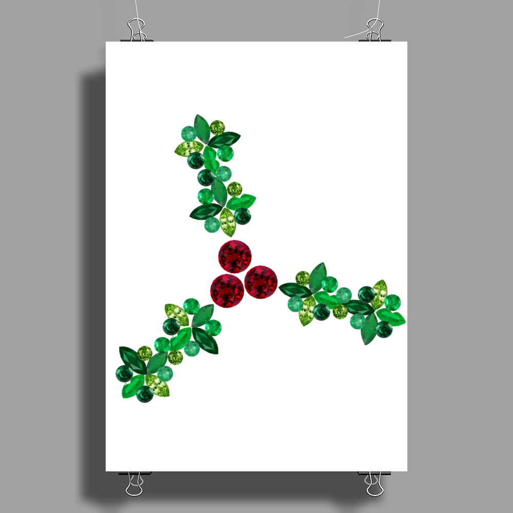 Holly Leaves with Berries Poster Print (Portrait)