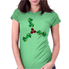 Holly Leaves with Berries Womens Fitted T-Shirt