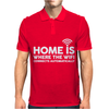 HOME IS WHERE THE WIFI FUNNY Mens Polo