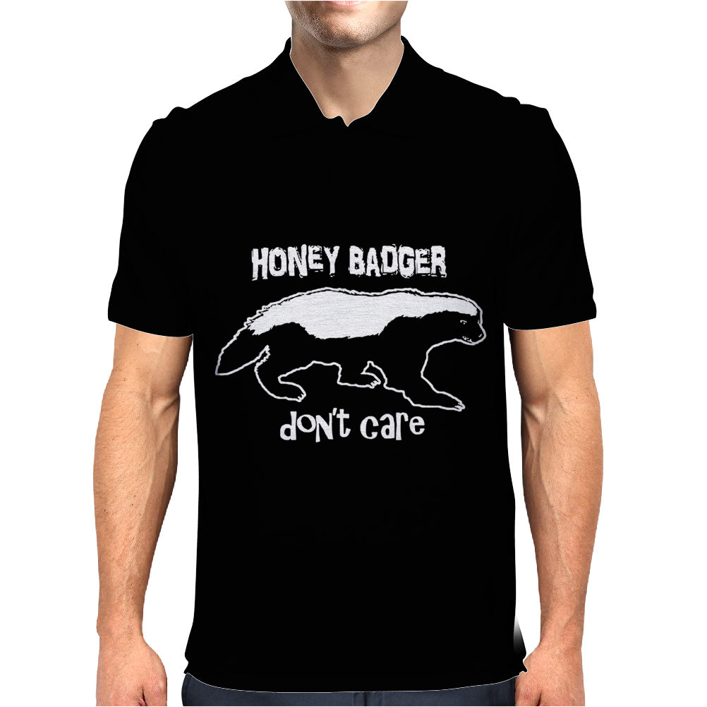 Honey Badger Don't Care Mens Polo