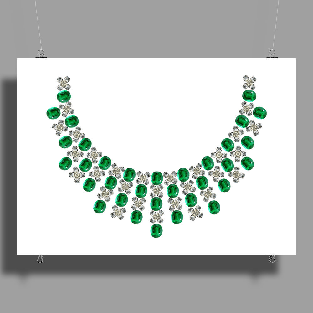 Hugs and Kisses Emerald and Diamond Necklace Poster Print (Landscape)