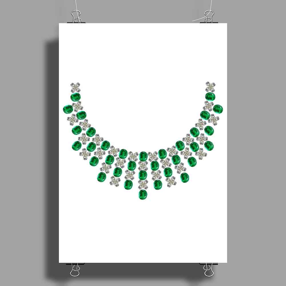 Hugs and Kisses Emerald and Diamond Necklace Poster Print (Portrait)